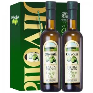 欧丽薇兰olive 特级初榨橄榄油礼盒装 粮油植物油送礼佳品组合装500mlX2瓶